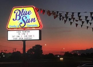 The sign outside of Blue Sun Soda Shop